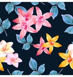 Watercolor seamless pattern of exotic flowers vector