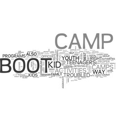 Youth group activities boot camp text word cloud vector