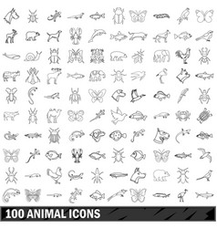 100 animal icons set outline style vector image
