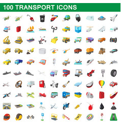 100 transport icons set cartoon style vector image