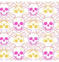 Seamless pattern with color skulls vector