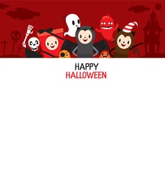 Halloween cartoon character on frame banner vector