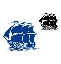 Brigantine sail ship vector