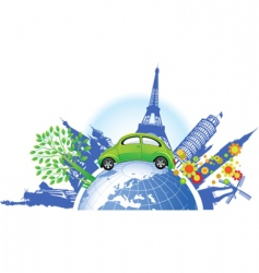 Global green car vector