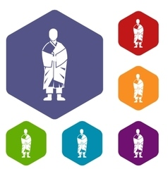 Buddhist monk icons set vector