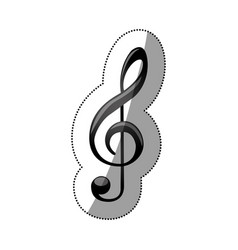 Sticker monochrome silhouette with sign music vector