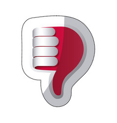 Red hand making the bad sign icon vector