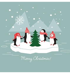 Penguins and christmas tree vector