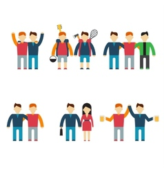 Friends and friendly relationship flat line icons vector