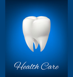 3d white tooth for dentistry health care vector image vector image