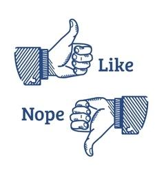 Set of two hands gestures vector image