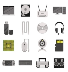 Computer components and accessories icon set vector