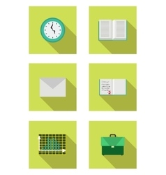 Flat set with book schoolbag envelope notebook vector
