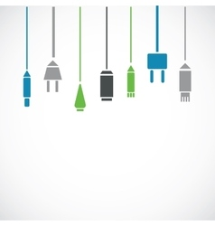 Different connection plugs and wires vector