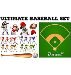 Children in baseball team and field vector image