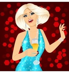 Woman holding a champagne glass vector