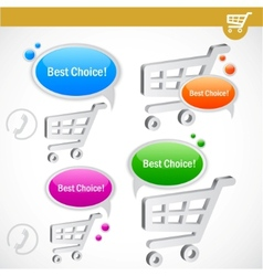 Shopping cart with bubble for speech vector