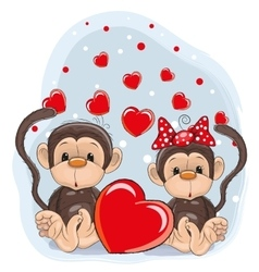 Lovers monkeys vector