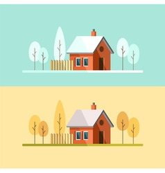 Autumn winter house family suburban home vector