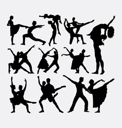 Couple ballet dancer silhouette vector