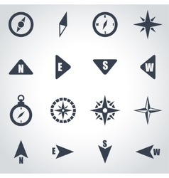 Black compass icon set vector