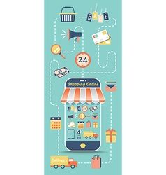 Shopping online with flat icon in retro style vector