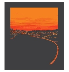Night city with sunset vector