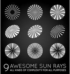 Set of sunburst rays of sun vector