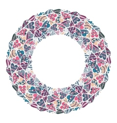 Round frame lined hearts hand drawn style vector image