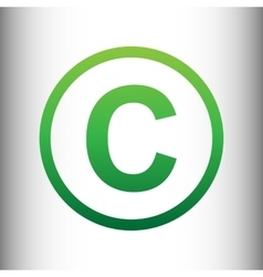 Copyright sign green gradient icon vector
