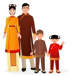 Chinese family chinese man and woman with boy and vector