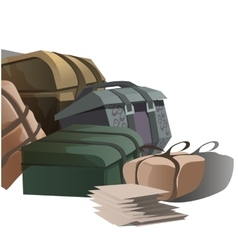 Large pile of road suitcases in cartoon style vector