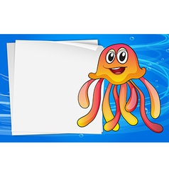 A jelly fish with an empty signage vector