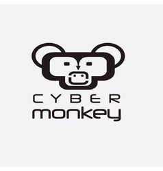 Cyber monkey computer shop design template vector