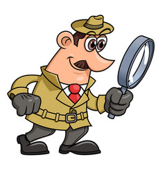 Detective is looking through the loupe 2 vector