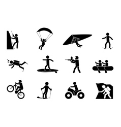 Extreme sports or adventure icons vector image