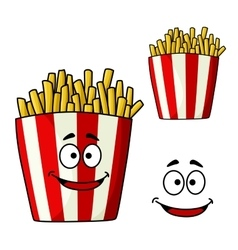 French fries snack box cartoon character vector image vector image