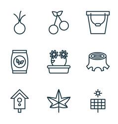 Garden icons set collection of sun power pail vector