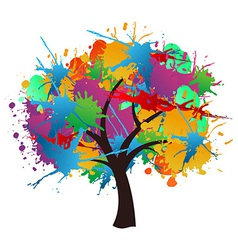 Isolated paint splash spring tree vector image vector image