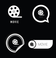 movie icon in black and white vector image vector image