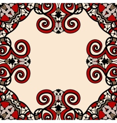 Ornate frame for text in red and light brown color vector image vector image
