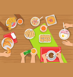 People eating different breakfast meals together vector