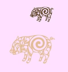Pig ornate vector