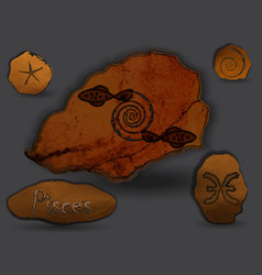 Pisceszodiac in the form of cave painting vector