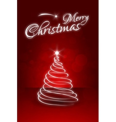 Red Christmas Card with abstract Christmas Tree vector image vector image