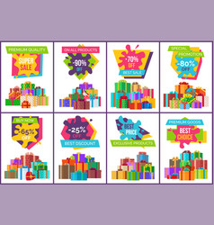 Sale posters with gift boxes in decorative paper vector