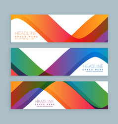 set of three colorful wave banners banners vector image