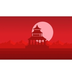 Silhouette of pavilion with big moon vector