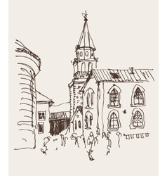 Sketch drawing of the bell tower church top view vector