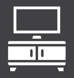 Tv bench solid icon furniture and interior vector